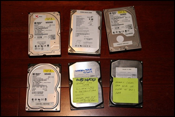 Six failed hard drives