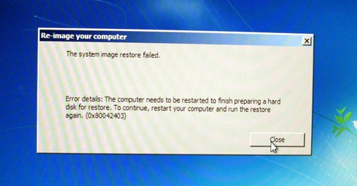Windows 7 restore from system image: FAIL